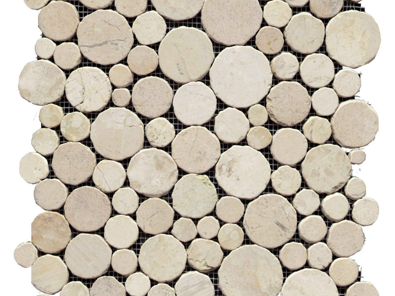 Paradise Round Stone Blanco Mosaics